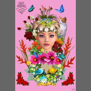 Poster - Lady spring - couleur rose