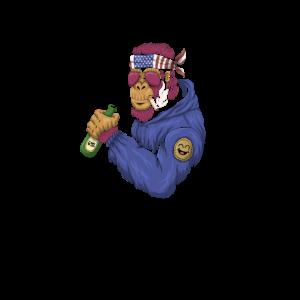 Cooler Menschenaffe mit Bier