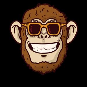 Cooler Affe mit Sonnenbrille