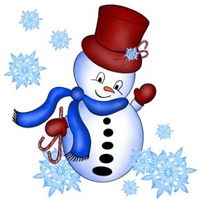 Schneemann mit Schneeflocken
