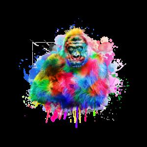 Gorilla Affe Aquarell Wasserfarben Primat Geschenk