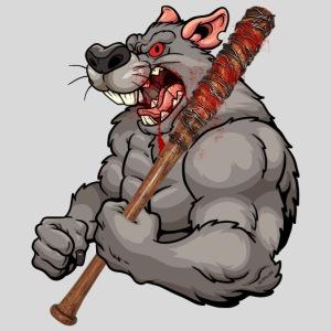 Ratte mit Baseballschläger