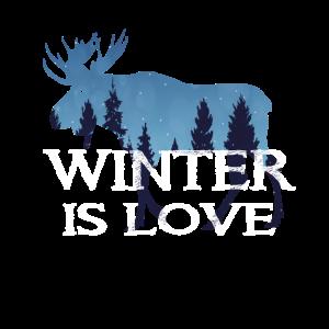 Winter Design mit Elch und Wald