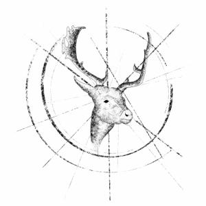Rentier geometrisch schwarz weiß