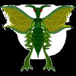 Créature insectoide poilue verte