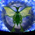 Créature insectoide poilue verte sur fond lunaire