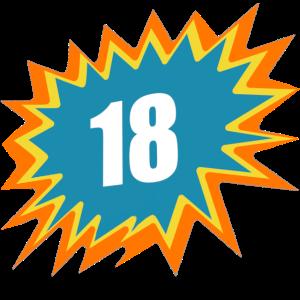 18 bunt, 18, 18. GB, volljährig