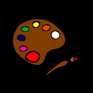 Bunte Farbpalette mit Pinsel