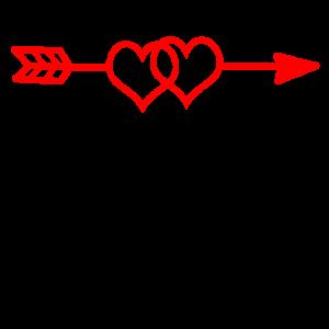 2 Herzen Pfeil Paar Zusammen Romatisch Geschenk