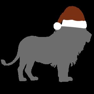Löwe mit Weihanchtsmütze
