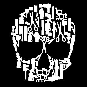 Totenkopf aus verschiedenen Werkzeugen Friseur