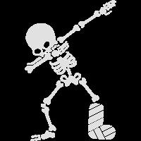 Dab dabbing skeleton plaster broken leg