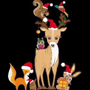 weihnachtliches Treffen niedlicher Waldtiere