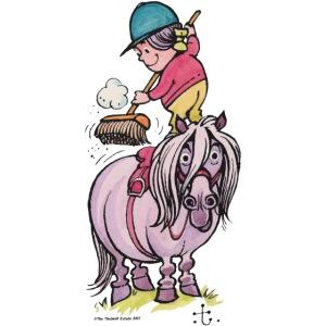 Thelwell Reiter Striegelt Pferd Mit Besen