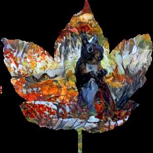 Eichhoernchen im Herbstlaub gemalt