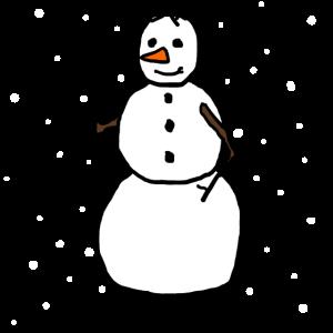 Der Schneemann im Schnee handgemalt