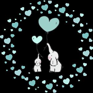 Zwei süsse Elefanten in einem Meer aus Herzen