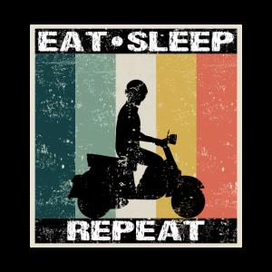Motorroller Eat Sleep Repeat für Rollerfahrer