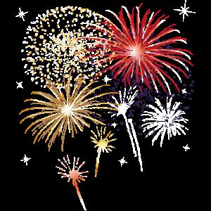 Silvester. Buntes Feuerwerk mit Sternen.
