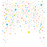 Silvester. Buntes Konfetti mit Sternen.
