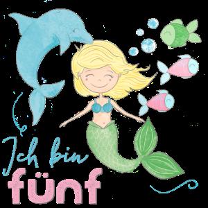 5. Geburtstag, Meerjungfrau, Delfin unter Wasser