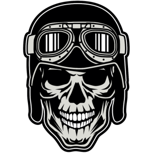 Totenkopf Motorradfahrer Retro