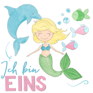 1. Geburtstag, erster, eins, Meerjungfrau, Delfin