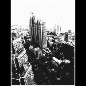 Tokio von weit oben - Japan Nihon in schwarz-weiß