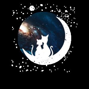 Katzen Mond Sterne Galaxie