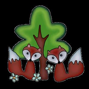 Fuechse mit Baum