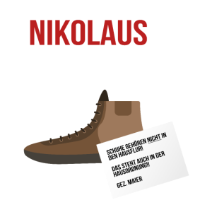 Nikolaus in Deutschland - Stiefel Hausordnung