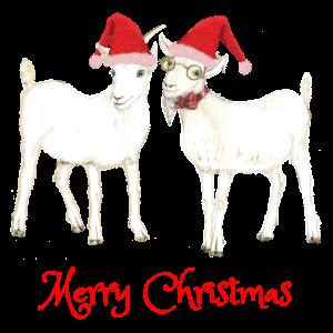2 Ziegen Merry Christmas Design für Ziegen Fans