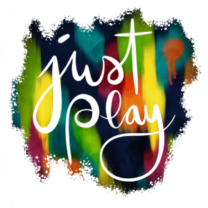 Just Play Lettering auf Farbklecksen