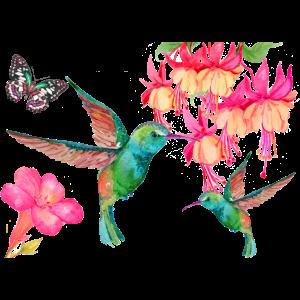 Kolibris und Schmetterling unter Fuchsien