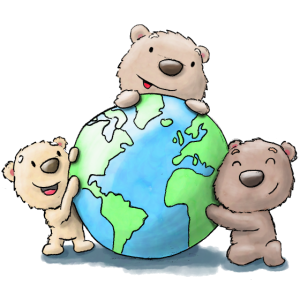 Süsse Bärenkinder tragen Sorge zu unserer Erde