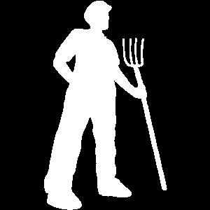 Bauer mit Mistgabel