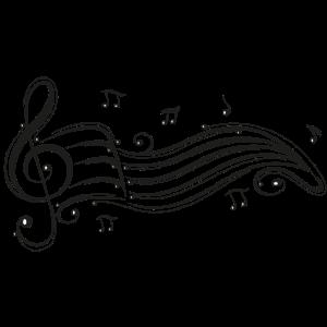 Notenschlüssel mit Notenblatt und Musiknoten.