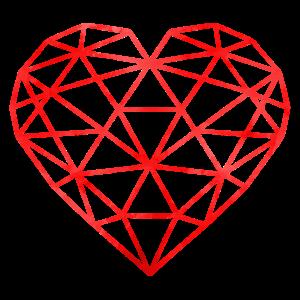 heart geometric red