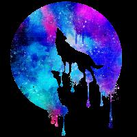 Heulender Wolf Vollmond - Geschenk - Space Galaxie