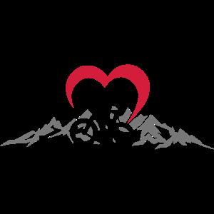 Sport - Radfahrer Berge Herz