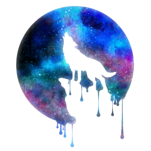 Heulender Wolf Vollmond Galaxie Universum Geschenk
