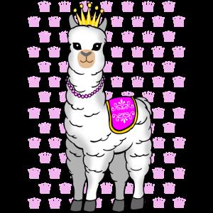 Lama Alpaka Prinzessin Damen Kinder T-Shirt Shirt