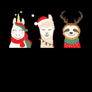 Einhorn Lama Faultier Weihnachten