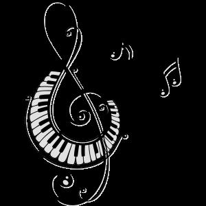 Notenschlüssel mit Klaviertasten und Musiknoten