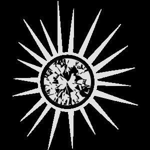 Weiße Sonne mit Diamant.