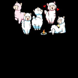 Viele lustige wolkenflauschige Alpakas