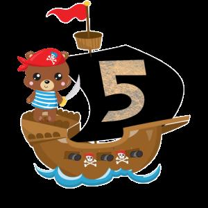 Geburtstag 5 Jahre Pirat Geburtstagsshirt Geschenk