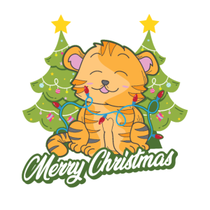 Katze Tannenbaum Frohe Weihnachten Lichterkette