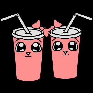 2 freundinnen team paar gesicht comic cartoon süß