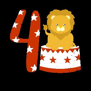 4 Birthday Boy Lion 4 Jähriger Zirkus Geburtstag
